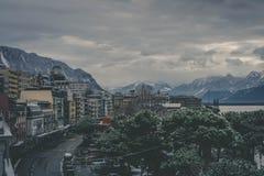 Fundo da paisagem da montanha em Suíça fotografia de stock