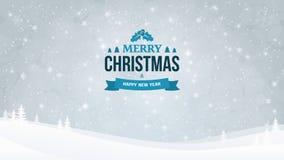 Fundo da paisagem da noite do inverno com queda de neve e árvores Crachá tipográfico do vintage do Natal e do ano novo Foto de Stock Royalty Free