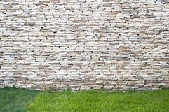 Fundo da parede de pedra com grama Fotos de Stock