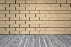 Fundo da parede de tijolo e assoalho da madeira da prancha Foto de Stock