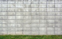 Fundo da parede do bloco de cimento com grama Imagem de Stock Royalty Free