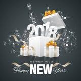 Fundo 2018 da parte traseira da caixa do fogo de artifício do ano novo feliz ilustração do vetor