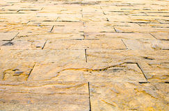 Fundo da perspectiva: Assoalho de pedra da perspectiva do tijolo da areia, texto fotos de stock