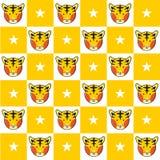 Fundo da placa de Tiger Star Yellow White Chess ilustração royalty free