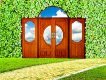 Fundo da porta e do trevo na opinião do jardim e do céu ilustração do vetor