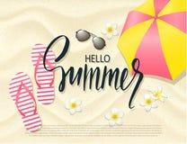 Fundo da praia do verão com flores, o guarda-chuva, os óculos de sol e falhanços de aleta tropicais na areia Ilustração do vetor ilustração royalty free