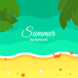 Fundo da praia do verão no projeto liso ilustração royalty free