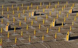 Fundo da praia do verão Teste padrão de guarda-chuvas de praia amarelos fechados e de sunbeds dobrados foto de stock