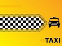 Fundo da propaganda do táxi com táxi e seta Foto de Stock