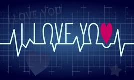 Fundo da pulsação do coração do amor ilustração do vetor