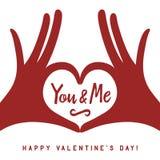 Fundo da rotulação do dia de são valentim com mãos no gesto do coração ilustração royalty free