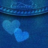 Fundo da sarja de Nimes com corações Cartão do dia dos Valentim elementos 3d realísticos do amor para o projeto do texto no vetor ilustração do vetor