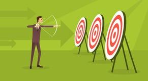 Fundo da seta do conceito do objetivo de Archer To Target Get do alvo do homem de negócio Foto de Stock