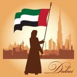 Fundo da silhueta da skyline da cidade de Dubai Imagem de Stock Royalty Free