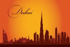 Fundo da silhueta da skyline da cidade de Dubai Foto de Stock Royalty Free