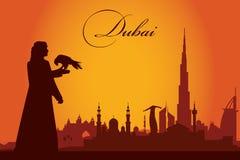 Fundo da silhueta da skyline da cidade de Dubai Fotos de Stock Royalty Free