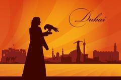 Fundo da silhueta da skyline da cidade de Dubai Fotografia de Stock Royalty Free
