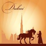 Fundo da silhueta da skyline da cidade de Dubai Fotos de Stock