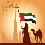 Fundo da silhueta da skyline da cidade de Dubai Imagens de Stock Royalty Free