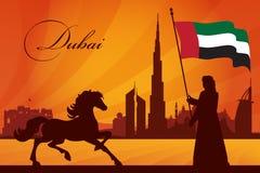 Fundo da silhueta da skyline da cidade de Dubai Fotografia de Stock