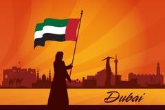 Fundo da silhueta da skyline da cidade de Dubai Foto de Stock