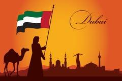 Fundo da silhueta da skyline da cidade de Dubai Imagem de Stock