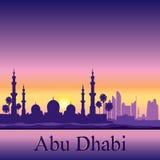 Fundo da silhueta da skyline de Abu Dhabi com uma mesquita grande Imagem de Stock Royalty Free