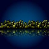Fundo da skyline da cidade da noite dos desenhos animados do estilo ilustração stock