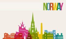 Fundo da skyline dos marcos do destino de Noruega do curso ilustração royalty free