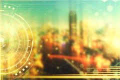Fundo da tecnologia Ícones do negócio e da tecnologia em wi do quadro Fotografia de Stock