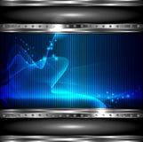 Fundo da tecnologia com bandeira metálica. vetor Imagens de Stock