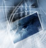 Fundo da tecnologia com computador Fotografia de Stock