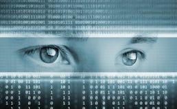 Fundo da tecnologia com olhos Imagens de Stock