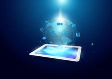 Fundo da tecnologia de comunicação Tabuleta com holograma do globo ilustração stock