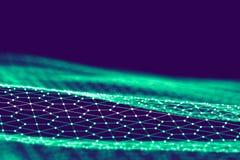 Fundo da tecnologia de rede Fundo futurista do azul da tecnologia Baixo fio 3d poli Inteligência artificial do Ai Scy fi Fotos de Stock Royalty Free
