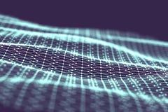 Fundo da tecnologia de rede Fundo futurista do azul da tecnologia Baixo fio 3d poli Inteligência artificial do Ai Scy fi Fotos de Stock