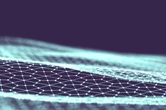 Fundo da tecnologia de rede Fundo futurista do azul da tecnologia Baixo fio 3d poli Inteligência artificial do Ai Scy fi ilustração royalty free
