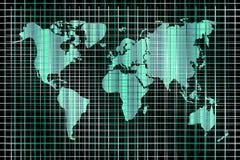 Fundo da tecnologia do vetor Mapa do mundo e linhas ilustração stock