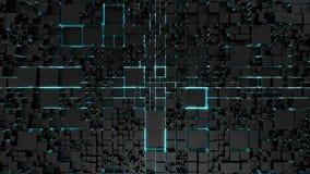 Fundo da tecnologia da ficção científica com iluminação de néon azul imagem de stock