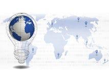 Fundo da tecnologia o mapa do mundo 3d no bulbo com fundo do ponto do lugar no mapa do mundo para o conceito da tecnologia, globa Imagem de Stock