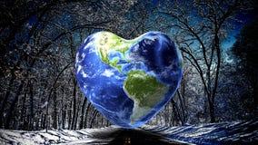 Fundo da terra da forma do coração fotos de stock