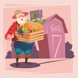 Fundo da terra dos vegetais de Hold Box With do fazendeiro Imagens de Stock Royalty Free