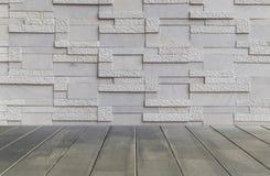 Fundo da textura da parede de tijolo e assoalho da madeira Fotografia de Stock Royalty Free