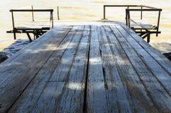 Fundo da textura da ponte de madeira Fotografia de Stock