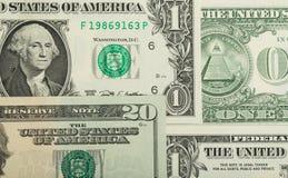 Fundo da textura das cédulas do dinheiro do dólar dos EUA Fotografia de Stock