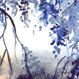 Fundo da textura do sumário da folha dos azuis marinhos da aquarela Imagens de Stock