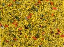 Fundo da textura Mistura amarela da especiaria As especiarias consistem vegetais desidratados secados Imagens de Stock
