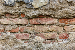 Fundo da textura velha da parede de tijolo da quebra Foto de Stock