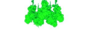 FUNDO DA TINTA PARA COMPOSITING Fumo ou tinta verde na série da água Aquarela deixada cair na água no fundo branco filme