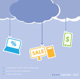 Fundo da venda da nuvem ilustração royalty free